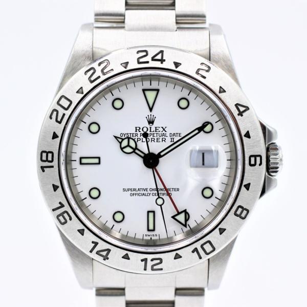 ロレックス 腕時計エクスプローラーII16570ホワイトSSメンズ自動巻き中古品