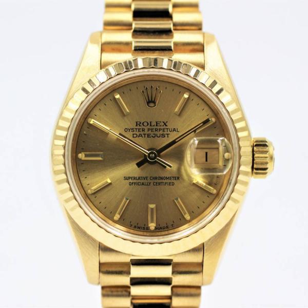 ロレックス 腕時計デイトジャスト69178シャンパンK18YGイエローゴールドレディース自動巻き中古品