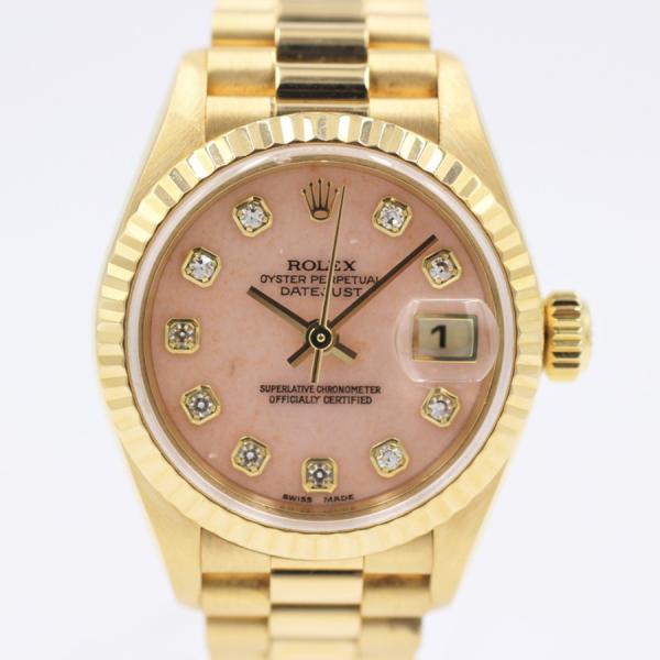 ロレックス 腕時計デイトジャスト79178OPGピンクオパールYG自動巻き中古品