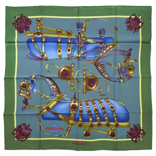 【わけあり】エルメス スカーフ HERMES ソルド カレ ツイル シルク100% 90CMS HARNAIS DE COUR グリーンティー/グレー 26417 わけあり