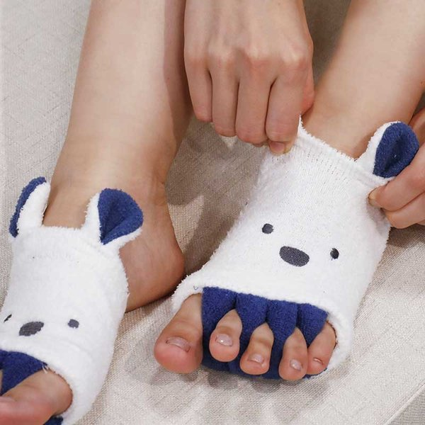 5本指足指ソックス穴あき靴下指先なしレディース冷え対策外反母趾carariZooieカラリズーイアニマル足指リラックスソックス