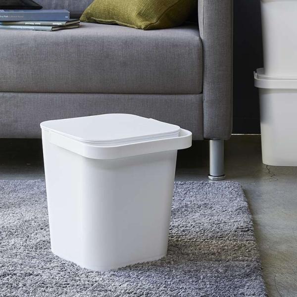 フタ付きバケツ タワー 12L リビング 収納 ホワイト ブラック ゴミ箱 おしゃれ 角型 ごみ箱 収納ボックス インテリア 新生活 ばけつ|kajitano