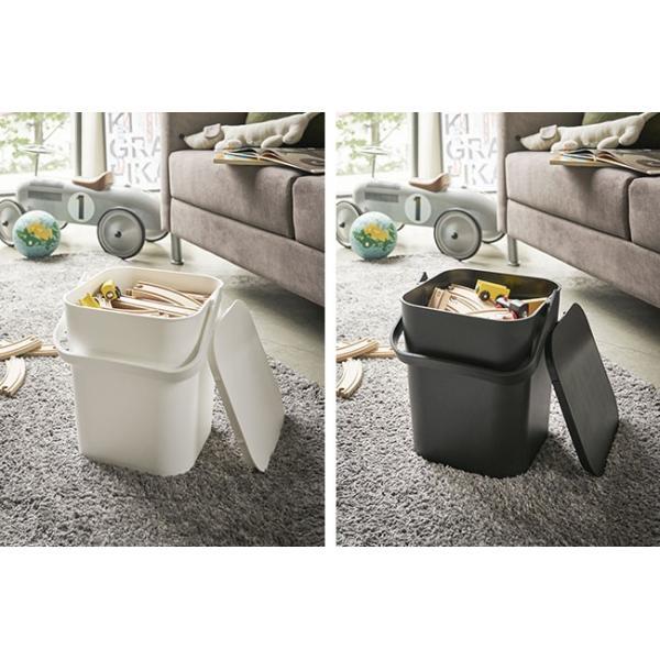 フタ付きバケツ タワー 12L リビング 収納 ホワイト ブラック ゴミ箱 おしゃれ 角型 ごみ箱 収納ボックス インテリア 新生活 ばけつ|kajitano|02
