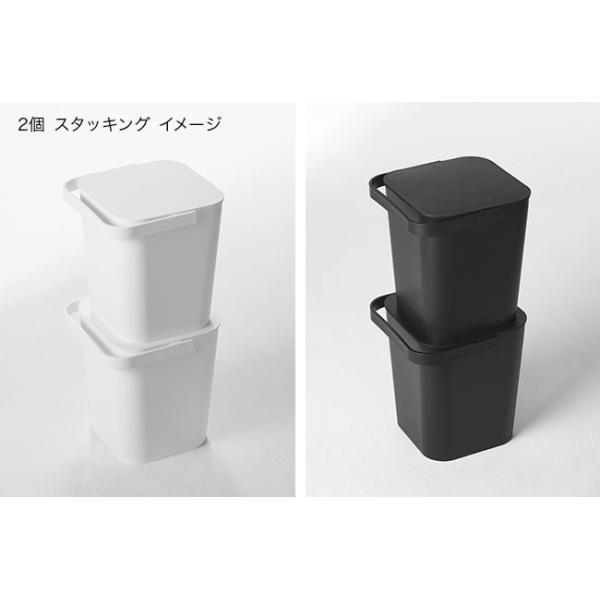 フタ付きバケツ タワー 12L リビング 収納 ホワイト ブラック ゴミ箱 おしゃれ 角型 ごみ箱 収納ボックス インテリア 新生活 ばけつ|kajitano|05