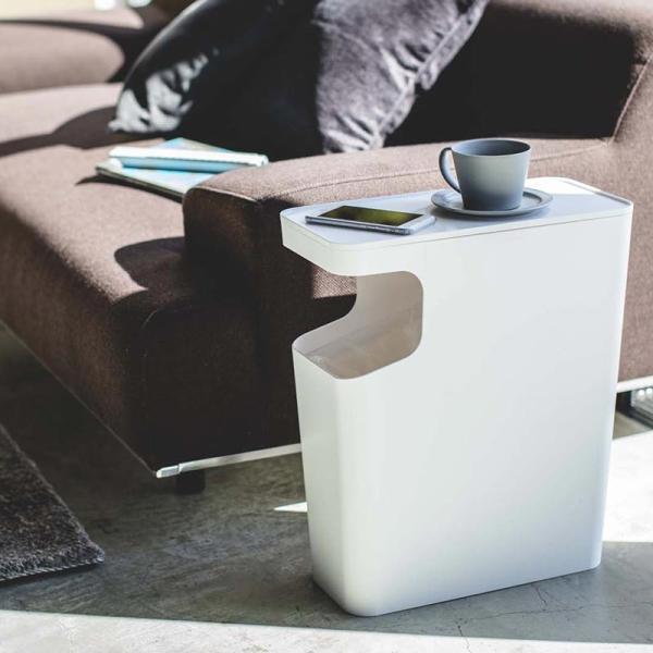 ダストボックス&サイドテーブル タワー  サイドテーブル ソファサイドテーブル ミニテーブル おしゃれ ゴミ箱 ごみ箱 リビング 白 黒 モノトーン kajitano