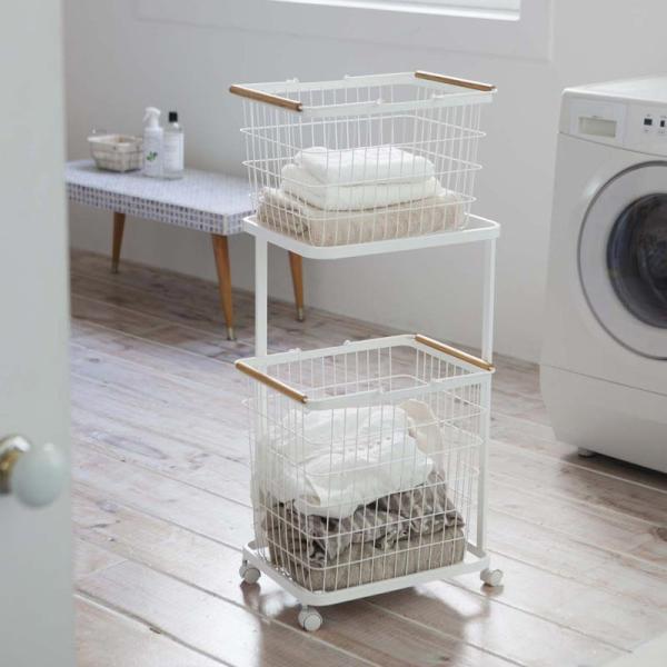 ランドリーバスケット ワゴン トスカ 3点セット 収納 洗濯かご スリム キャスター おしゃれ シンプル 洗濯 カゴ