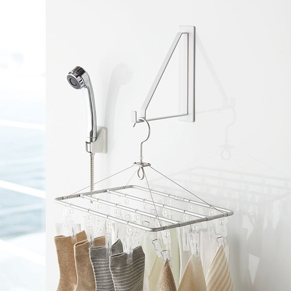 マグネット バスルーム 物干しハンガー タワー 浴室 収納 マグネット 浴室乾燥 おしゃれ フック ハンガー バス kajitano 02