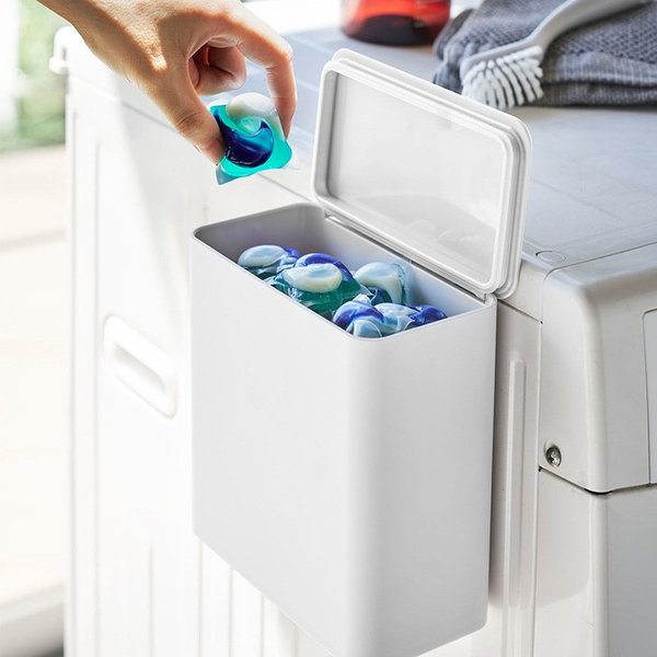 マグネット 洗濯洗剤ボールストッカー タワー ジェルボール 粉洗剤 ケース 収納 洗濯機 洗剤ケース シンプル おしゃれ 省スペース kajitano
