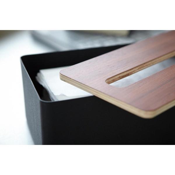 蓋付きティッシュケース リン L   ティッシュケース おしゃれ ティッシュボックス スタイリッシュ 木目 ブラウン ケース 木製 収納|kajitano|03