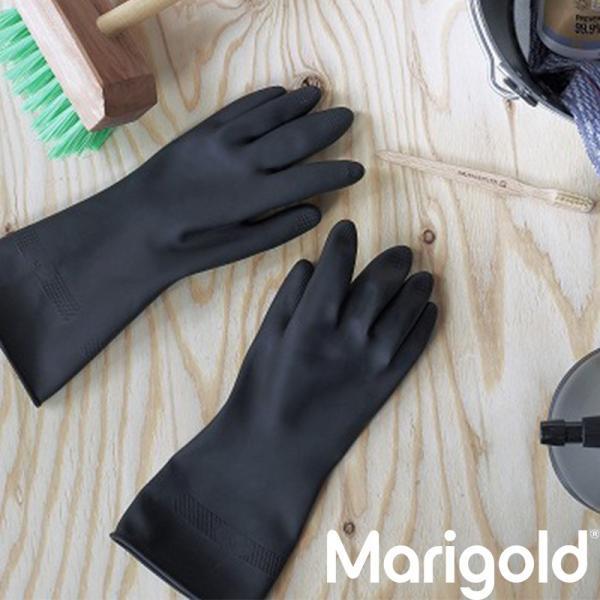 マリーゴールド アウトドア  ゴム手袋 手袋 Lサイズ 黒 おしゃれ かわいい ブラック おすすめ ガーデニング