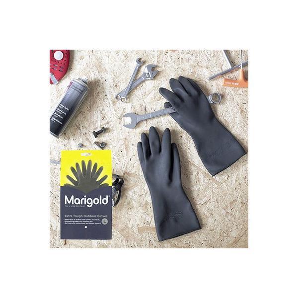 マリーゴールド アウトドア  ゴム手袋 手袋 Lサイズ 黒 おしゃれ かわいい ブラック おすすめ ガーデニング|kajitano|03
