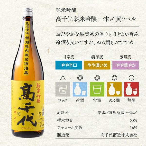 高千代 純米吟醸 一本〆 黄ラベル(新潟限定)
