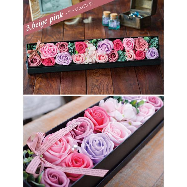 ソープフラワー ソープローズ「ロングBOX」ボックスフラワーのアレンジメント! フラワーギフトやお花のプレゼントにオススメソープフラワーのアレンジメント!|kajoen|02