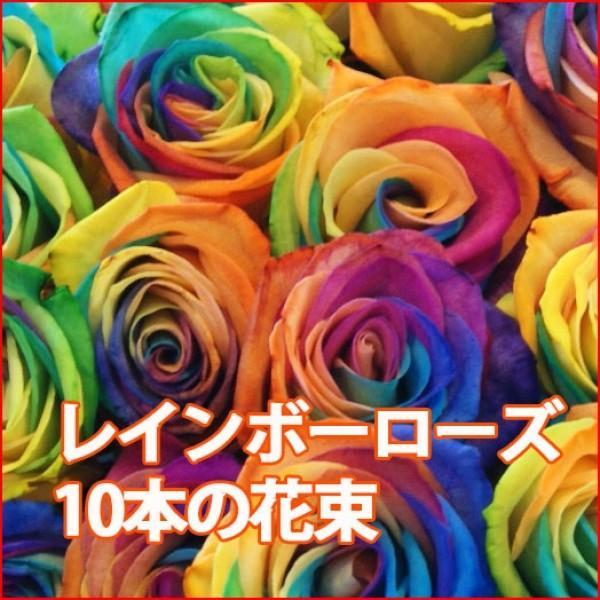 母の日 父の日 花 プレゼント レインボーローズ 10本の花束