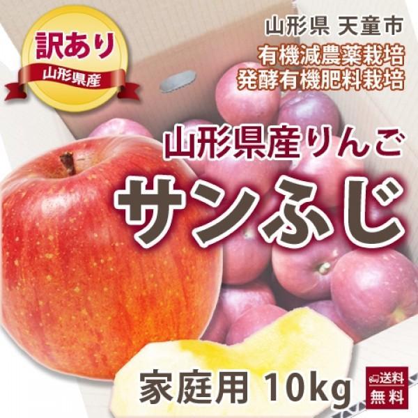 りんご リンゴ 林檎 山形 寺正農園 家庭用 訳あり サンふじ りんご 10kg  発酵有機栽培 送料無料 送料無料