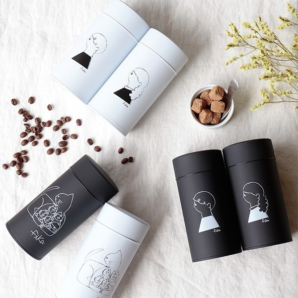 コーヒー缶 キャニスター 収納 珈琲缶 保存容器 コーヒー 紅茶 お茶 保存 キッチン 北欧 かわいい おしゃれ モノトーン シンプル fika フィーカ ペアセット