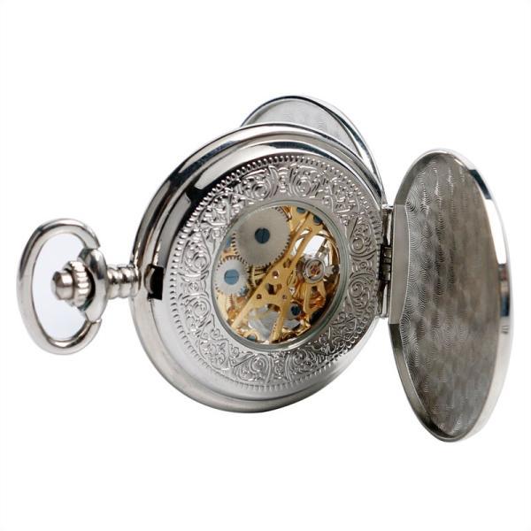 機械式 懐中時計 手巻き  シルバー チェーン付 アンティーク調 ステンレスタイプ ヴィンテージ スケルトン レトロ P2103C