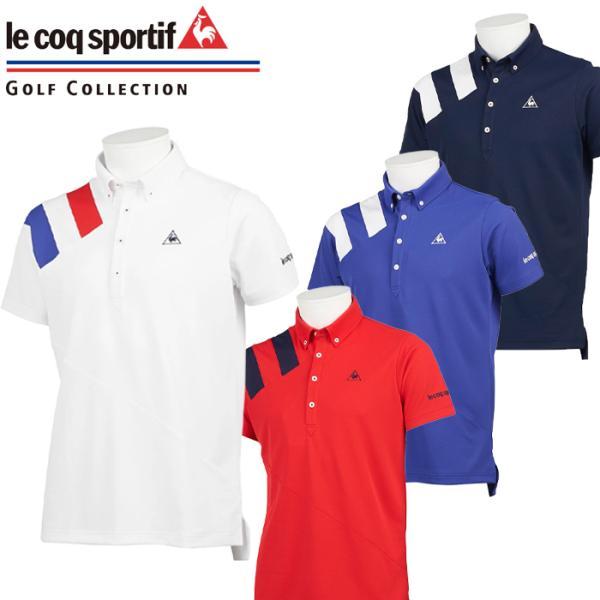 QGMQJA00ルコックゴルフボタンダウン半袖ポロシャツゴルフウェアメンズウェア