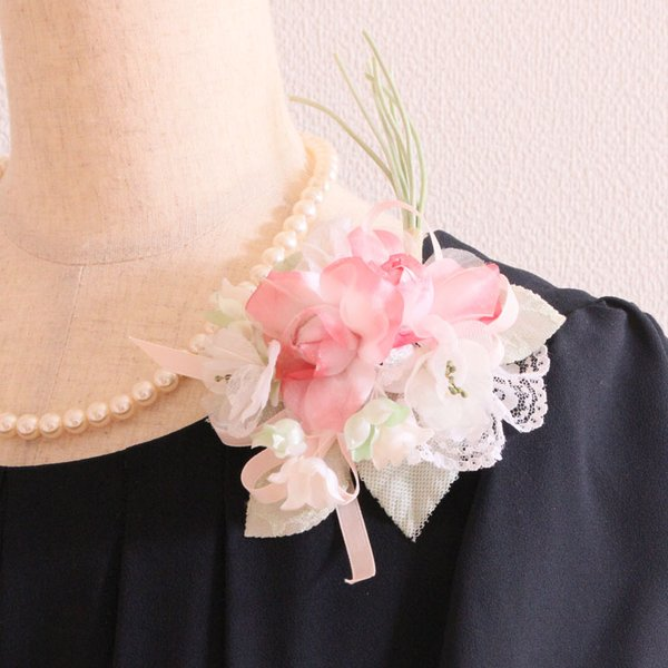コサージュ フォーマル 結婚式 卒園式 卒業式 入園式 入学式 ピンク グリーン 緑 ホワイト 白 一点もの 一点物 ブーケ 花束 日本製 送料無料 華やか 高級