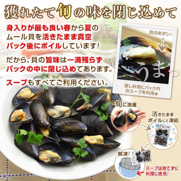 ムール貝 広島県産 国産 500g(15-25粒)を4パック まとめ買い|kamasho|06