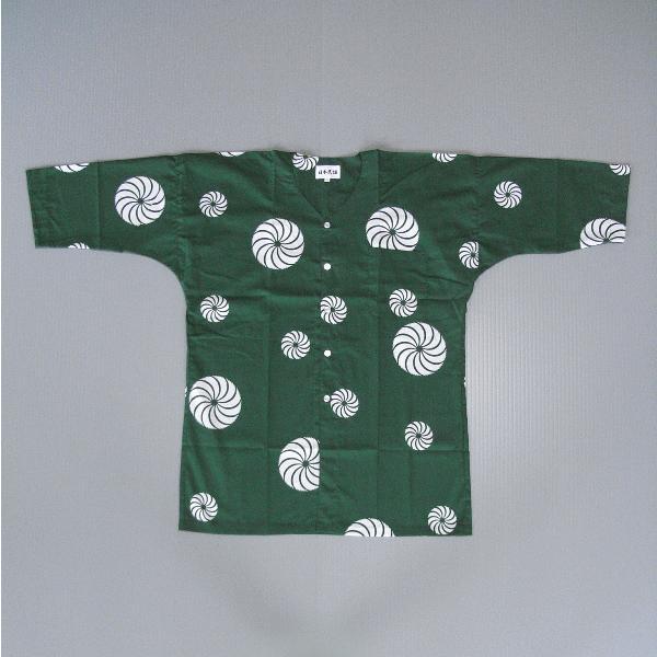 鯉口シャツ 祭り ダボシャツ メンズ レディース 浴衣地 緑 獅子毛 鯉口シャツ 祭り用品|kameya