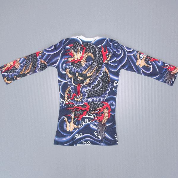 刺青シャツ 入れ墨 シャツ 祭り タトゥー Tシャツ 肉襦袢 昇り竜 祭り用品 長袖 kz-L|kameya