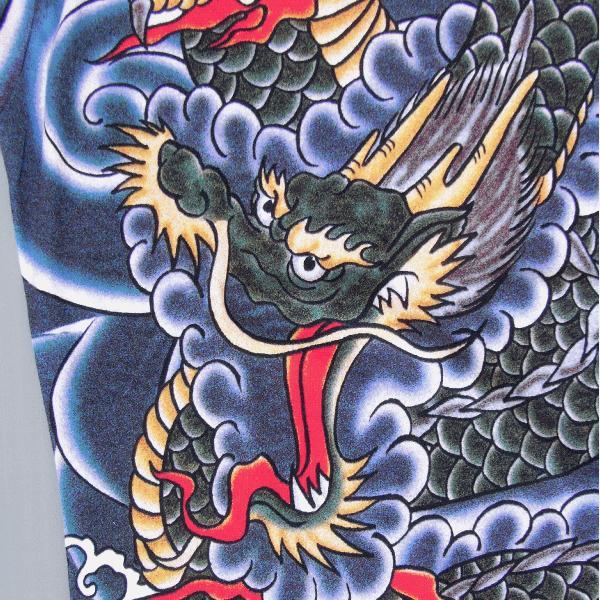 刺青シャツ 入れ墨 シャツ 祭り タトゥー Tシャツ 肉襦袢 昇り竜 祭り用品 長袖 kz-L|kameya|02