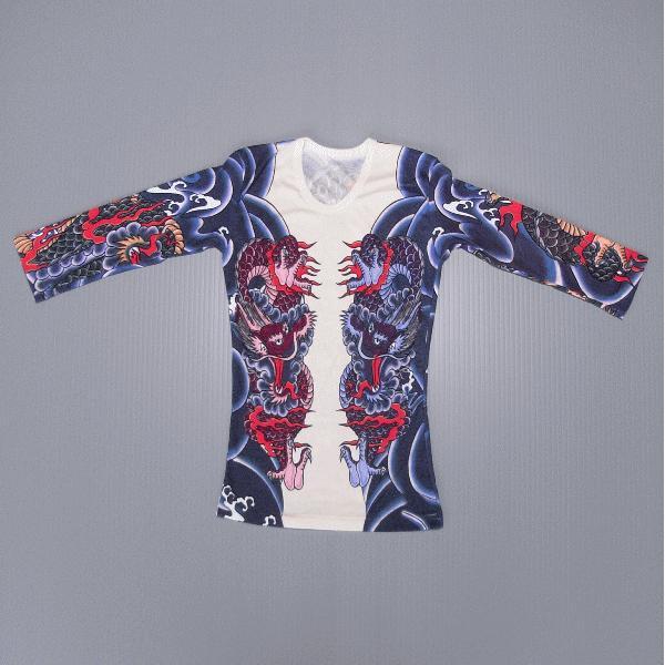 刺青シャツ 入れ墨 シャツ 祭り タトゥー Tシャツ 肉襦袢 昇り竜 祭り用品 長袖 kz-L|kameya|04