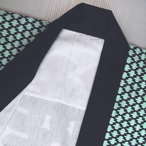 祭り 半纏 長 法被 はっぴ メンズ レディース 袢天 祭半纏 半天 浮世絵 ワサビ色 松皮菱 kameya 05