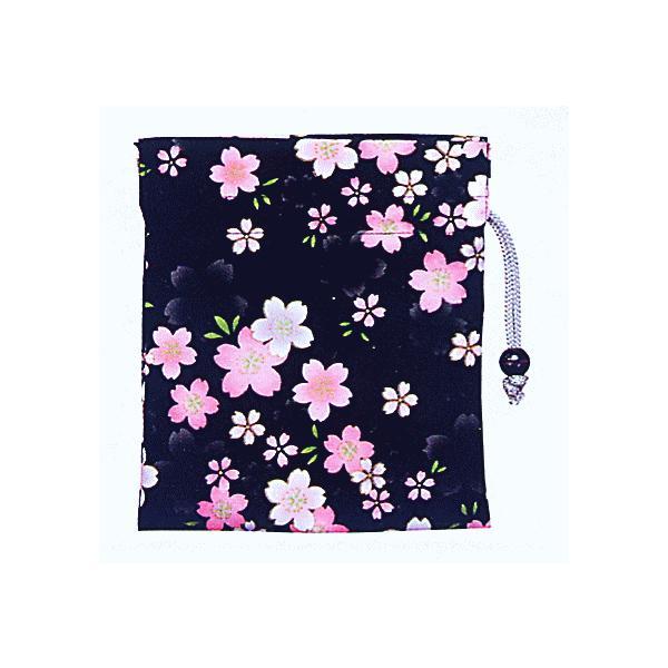 巾着 袋 バッグ ポーチ きんちゃく 祭り 巾着袋 黒地 桜 kameya