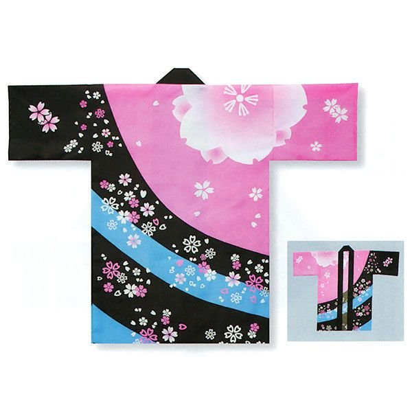 踊り 半纏 長 法被 はっぴ メンズ レディース 袢天 祭り半纏 半天 ピンク 黒 桜吹雪|kameya