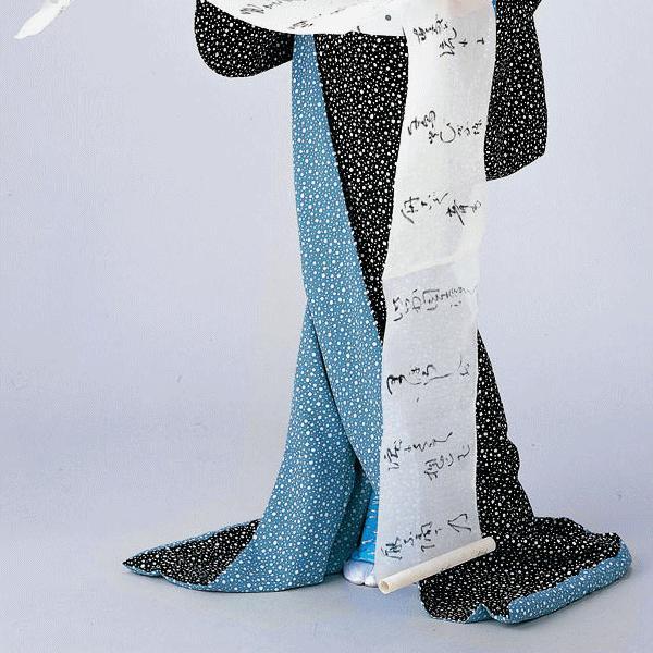 引きずり着物(黒地に大小あられ/水色八掛) 裾引き着物 お引き摺り着物(きもの) 洗える着物 ※納期約45日 kameya 03