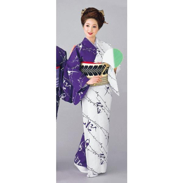 着物 片身替わり着物 女性 女物 単衣 納期35日 踊り 舞踊 着物 洗える着物 白 紫|kameya