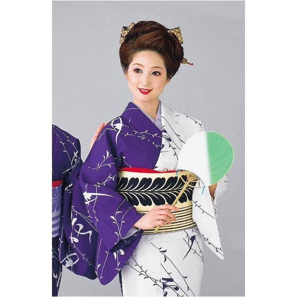 着物 片身替わり着物 女性 女物 単衣 納期35日 踊り 舞踊 着物 洗える着物 白 紫|kameya|02