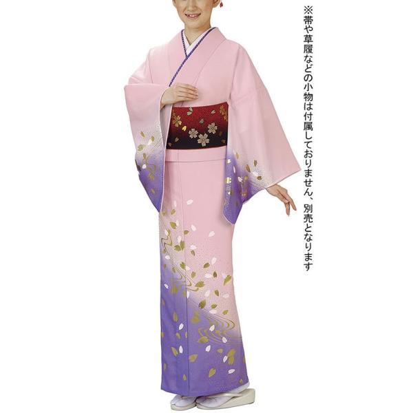 訪問着 女性 胴抜き プレタ 踊り 絵羽 訪問着 洗える着物 ピンク 藤色 桜 流水|kameya