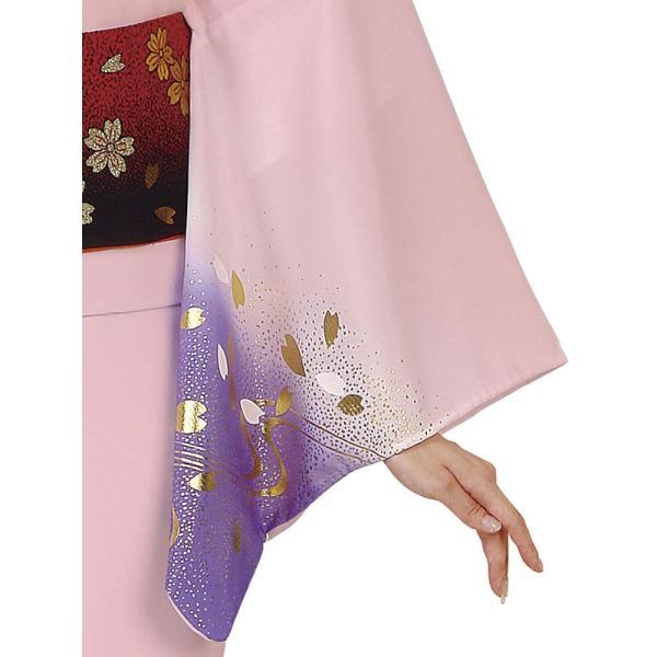 訪問着 女性 胴抜き プレタ 踊り 絵羽 訪問着 洗える着物 ピンク 藤色 桜 流水|kameya|03