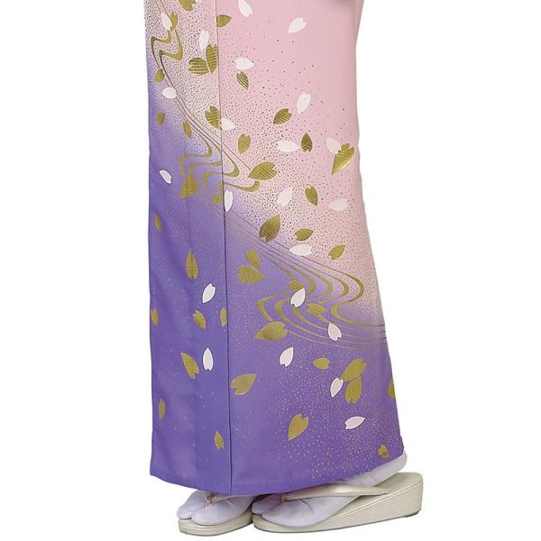 訪問着 女性 胴抜き プレタ 踊り 絵羽 訪問着 洗える着物 ピンク 藤色 桜 流水|kameya|05