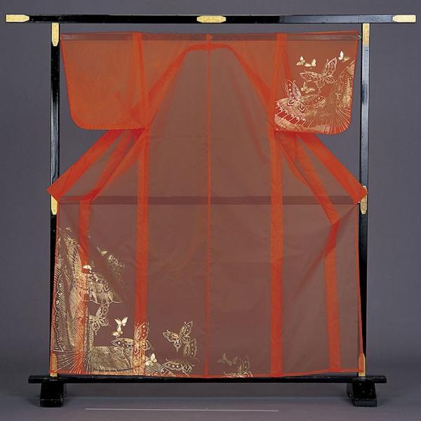 被衣 かつぎ かずき 踊り 衣被 きぬ かつぎ 日本舞踊 歌舞伎 オレンジ 蝶 金箔|kameya
