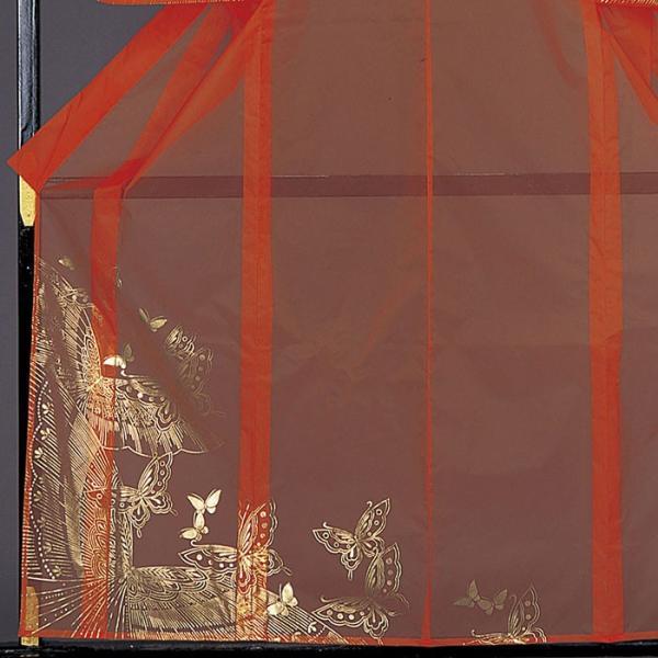 被衣 かつぎ かずき 踊り 衣被 きぬ かつぎ 日本舞踊 歌舞伎 オレンジ 蝶 金箔|kameya|03