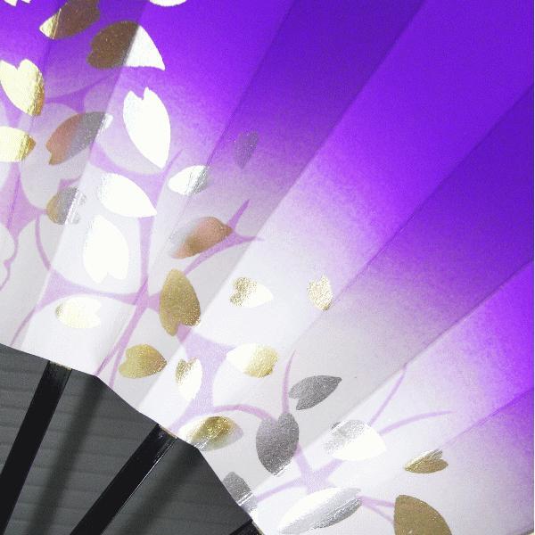 舞扇子 舞踊 扇子 舞扇 踊り 祭り 日本舞踊 日舞 菖蒲色 ぼかし 桜吹雪 箱付|kameya|03