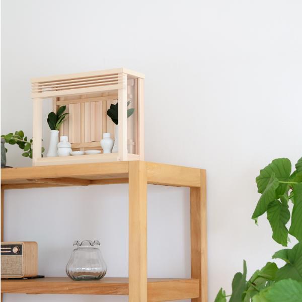 神棚 神楽ミニ  神具付き 置き、掛け兼用 国産ヒノキ使用 モダン箱宮|kamidana