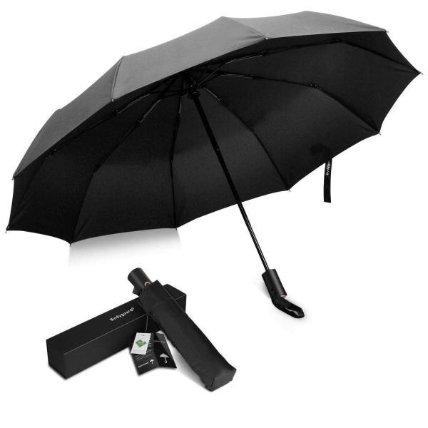 Bodyguard 折り畳み傘 210Tファブリック Teflon加工 超撥水 高強度グラスファイバー 10本骨 耐強風 ワンタッチ自動開閉