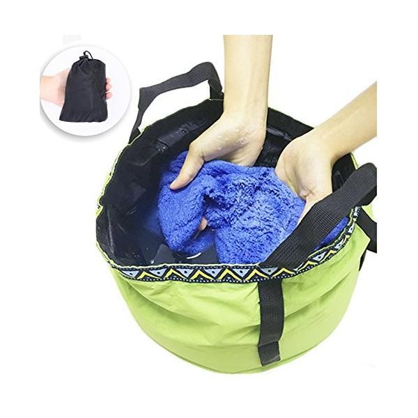 TAKU 新改良 折りたたみ バケツ 旅行 洗い桶 コンパクト 大容量 12L 自立式 撮み付き 軽量 ソフトバケツ 足湯 洗面器 防水 水|kamoshika