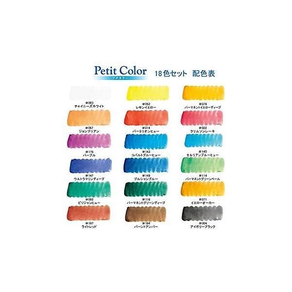 サクラクレパス 絵の具 固形水彩 プチカラー 18色 水筆入り NCW-18H kamoshika 10