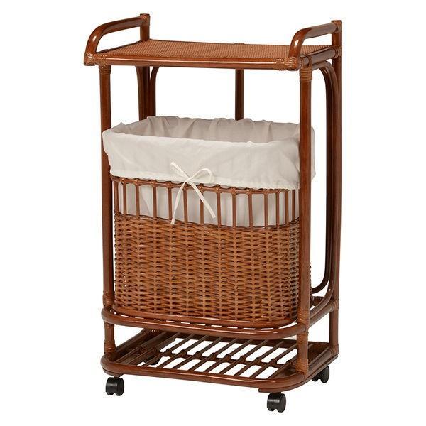 ランドリーバスケット ラック 洗濯物入れカゴ かご付き 籐製 ラタン製家具 キャスター付き|kanaemina