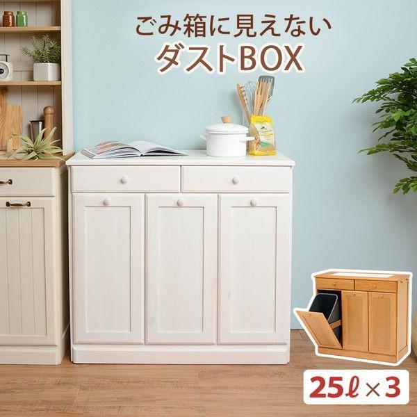 分別ペールカウンター 3分別ダストボックス 25リットル キッチン用ゴミ箱 幅87cm 高さ81cm|kanaemina