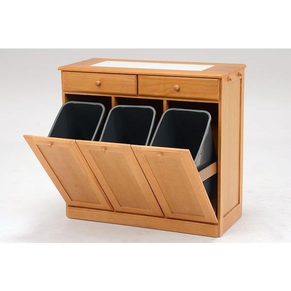 分別ペールカウンター 3分別ダストボックス 25リットル キッチン用ゴミ箱 幅87cm 高さ81cm|kanaemina|11