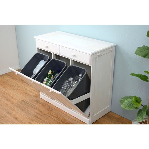 分別ペールカウンター 3分別ダストボックス 25リットル キッチン用ゴミ箱 幅87cm 高さ81cm|kanaemina|08