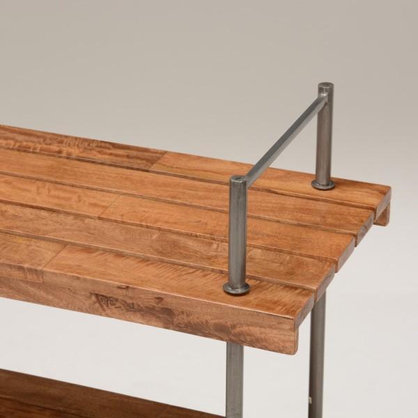 オープンラック 収納棚 ディスプレイラック スチール 天然木製 車輪キャスター付き|kanaemina|04
