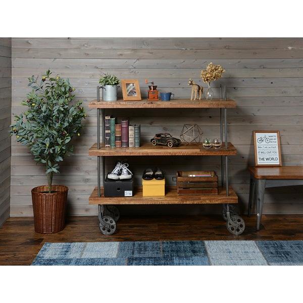 オープンラック 収納棚 ディスプレイラック スチール 天然木製 車輪キャスター付き|kanaemina|09